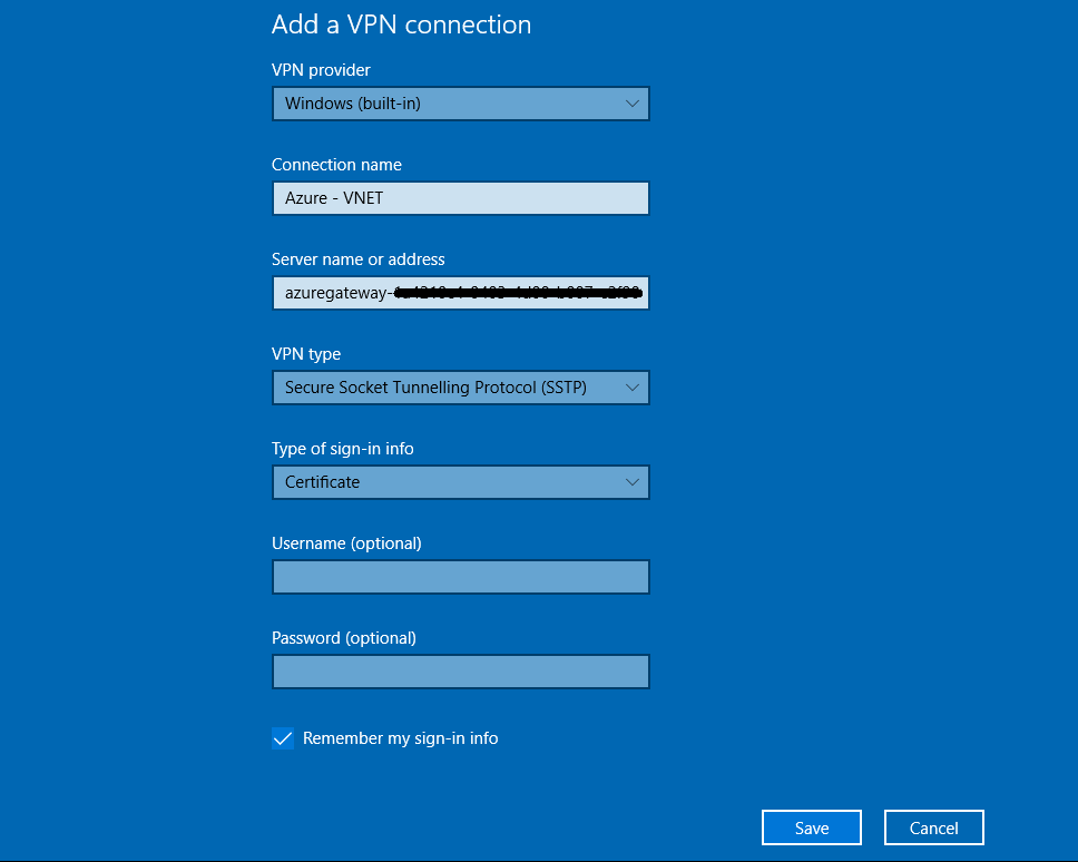 Manually Configure Azure Point-to-Site on Windows 10 - risual